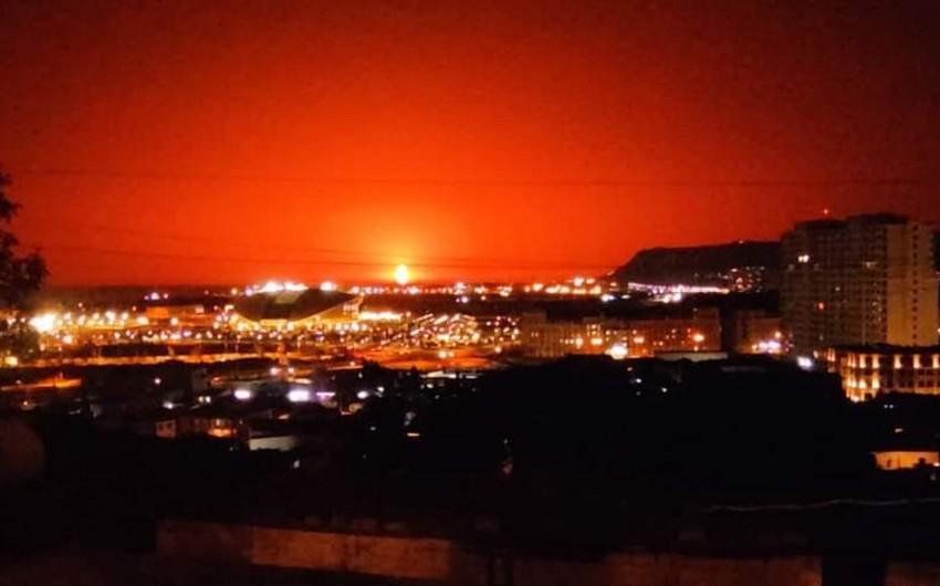 SOCAR назвал причину пламени на Каспии